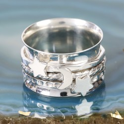 Sterling Silver Stars and Moon Spinning Ring