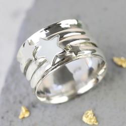 Sterling Silver Stars Spinner Ring