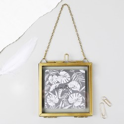 Small Square Hanging Brass Photo Frame