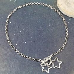 Danon Silver Double Open Star Toggle Necklace