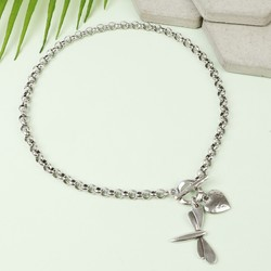 Danon Silver Dragonfly And Heart Toggle Necklace