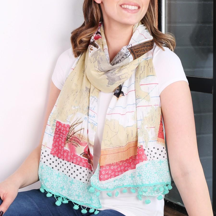 disaster designs bon voyage world scarf ladies fashion scarves lisa angel. Black Bedroom Furniture Sets. Home Design Ideas