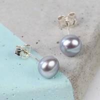 Medium Grey Sterling Silver Freshwater Pearl Stud Earrings