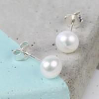 Medium Ivory Sterling Silver Freshwater Pearl Stud Earrings