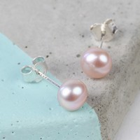 Medium Vintage Pink Sterling Silver Freshwater Pearl Stud Earrings