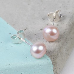 Medium Vintage Pink Sterling Silver Freshwater Pearl Stud Earrings