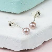Tiny Vintage Pink Sterling Silver Freshwater Pearl Stud Earrings