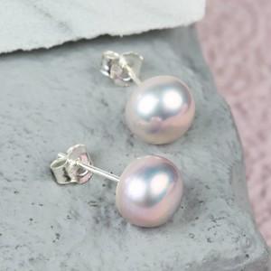 Vintage Pink Sterling Silver Freshwater Pearl Earrings