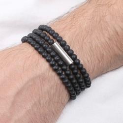Men's Matt Black Glass Beaded Wrap Bracelet