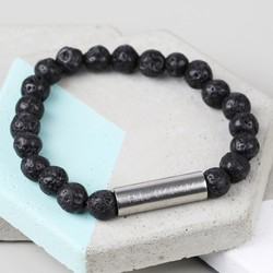 Men's Personalised Black Volcanic Stone Stainless Steel Tube Bracelet