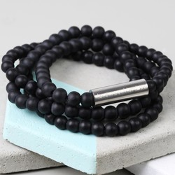 Men's Personalised Matt Black Glass Beaded Wrap Bracelet
