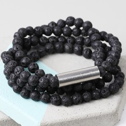 Men's Personalised Volcanic Stone Beaded Wrap Bracelet