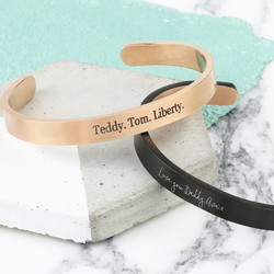 Personalised Men's Brushed Open Stainless Steel Bar Bangle