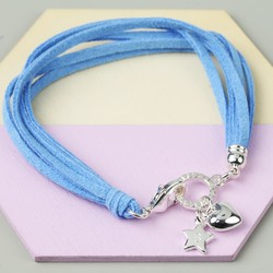 Personalised Sky Blue Suede Multi Layer Charm Bracelet