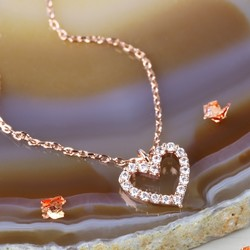 Estella Bartlett 'You Me Oui' Rose Gold Heart Necklace