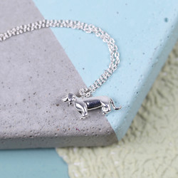 Estella Bartlett Silver Sausage Dog Necklace