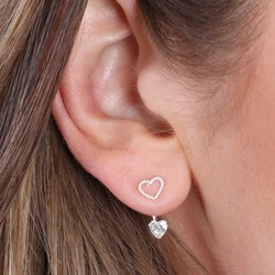 Sterling Silver Cubic Zirconia Heart Ear Jacket Earrings