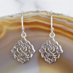 Dainty Sterling Silver Filigree Drop Earrings