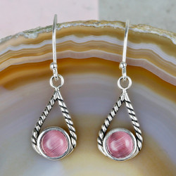 Sterling Silver and Pink Gem Tear Drop Earrings