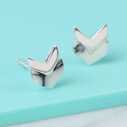 Sterling Silver Chevron and White Marble Stud Earrings