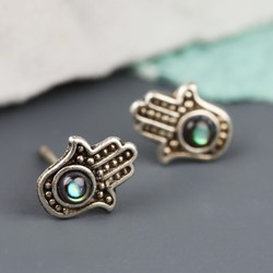Sterling Silver Hamsa Hand Stud Earrings