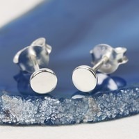 Tiny Sterling Silver Disc Stud Earrings