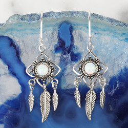 Sterling Silver and Opal Flower Dreamcatcher Drop Earrings