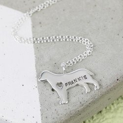 Personalised Sterling Silver Dog Pendant Necklace