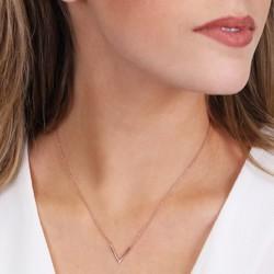 Rose Gold Sterling Silver V Inline Necklace