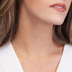Sterling Silver V Inline Necklace