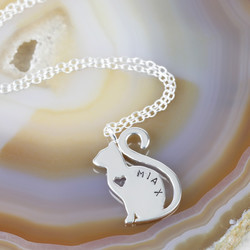 Personalised Sterling Silver Cat Pendant Necklace