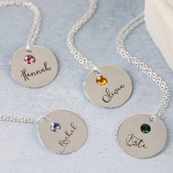 Personalised Sterling Silver Birthstone Name Necklace