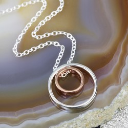 Sterling Silver and Rose Gold Circles Necklace