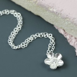Sterling Silver Delicate Flower Necklace