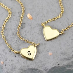 Sterling Silver Gold Heart Pendant Necklace