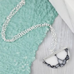 Sterling Silver and Marble Semicircle Necklace