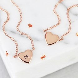 Sterling Silver Rose Gold Heart Pendant Necklace