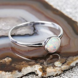 Sterling Silver and Round Opal Ring