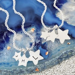 Sterling Silver Triple Star Necklace