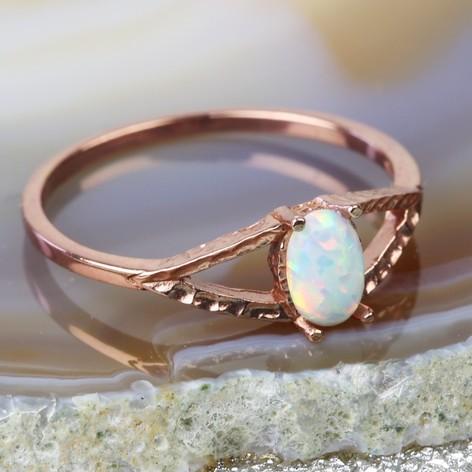 Rose Gold Sterling Silver Opal Ring Jewellery Lisa Angel