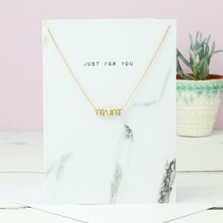 Gold 'Mum' Pendant Necklace and Greetings Card