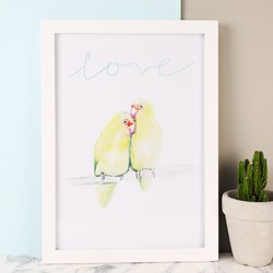 'Love Birds' Illustrated A4 Art Print