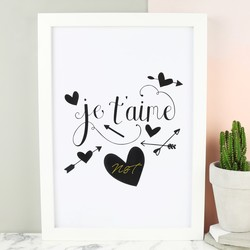Personalised 'Je T'aime' A4 Typography Print