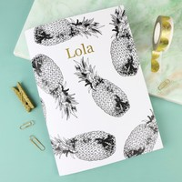Personalised Monochrome Pineapple A5 Notebook