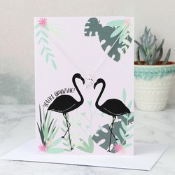 Silver Flamingo Pendant Necklace and Greetings Card