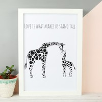 'Stand Tall' Illustrated Giraffes A4 Print
