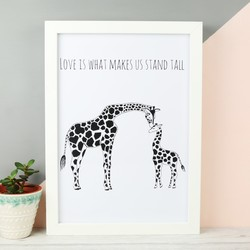 'Stand Tall' Illustrated Giraffes A4 Print