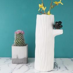 Ceramic Perching Black Bird Log Vase
