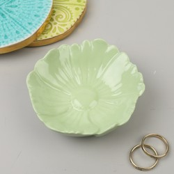 Large Green Flower Trinket Dish