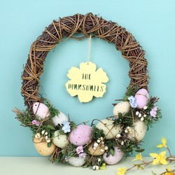Personalised Pastel Easter Egg Feature Wreath